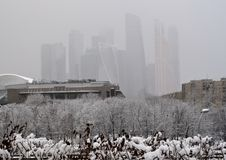 Snowfall in the Moscow royalty free stock photos