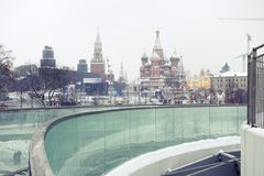 Snowfall in Moscow, Russia. Russian winter. Royalty Free Stock Image