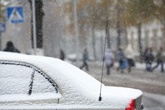 Snowfall motion cars Stock Image