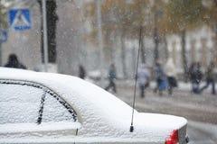 Snowfall motion cars Stock Image