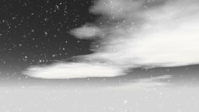 Snowfall motion of a winter white clouds stock video