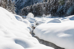 Snowfall on the mountain river Stock Photography