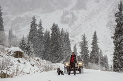 Snowfall mountains Royalty Free Stock Images