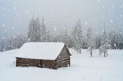 Snowfall in the mountains Stock Photo