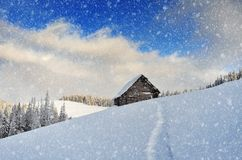 Snowfall in the mountains Royalty Free Stock Photo