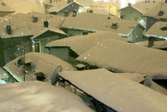 Snowfall in the night Royalty Free Stock Photo