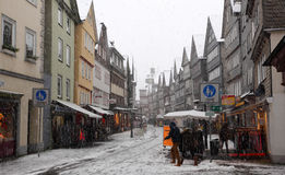 Snowfall in the old town Herborn, Germany Stock Photos