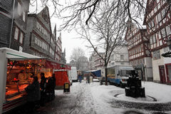 Snowfall in the old town Herborn, Germany Royalty Free Stock Images
