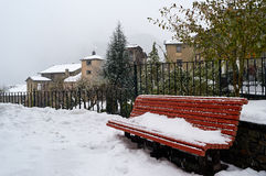 Snowfall in Ordino, Andorra. It is snowing on the town of Ordino, Andorra Royalty Free Stock Photo