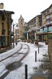 Snowfall in Ordino, Andorra. It is snowing on the town of Ordino, Andorra Stock Image