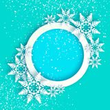 Snowfall. Origami Happy New Year Greetings card. Merry Christmas. White Paper cut snow flake. Winter snowflakes. Circle. Speech bubble frame. Text. Holidays vector illustration