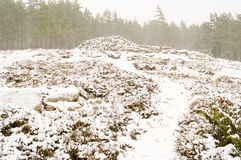 Snowfall over cairn Royalty Free Stock Images