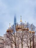 Snowfall over Holy Trinity Russian Orthodox Cathedral - Paris stock photography