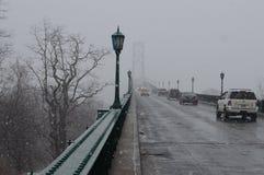 Snowfall over Mount Hope Bridge Stock Photography