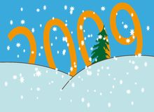 Snowfall over numbers. New Year's and Christmass collection of illustrations vector illustration