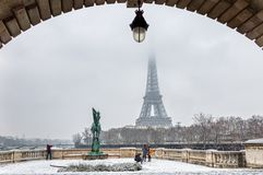 Snowfall over Pont Bir-Hakeim - Paris, France stock images
