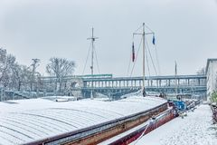 Snowfall over Pont Bir-Hakeim - Paris royalty free stock photo
