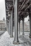 Snowfall over Pont de Bir-Hakeim - Paris, France stock images