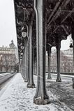 Snowfall over Pont de Bir-Hakeim - Paris, France royalty free stock images
