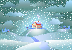 Snowfall over the small house Royalty Free Stock Photos