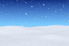 Snowfall over snow field Stock Photo