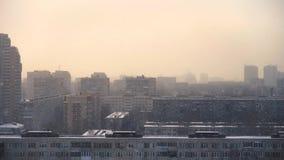 Snowfall over the urban area. Saint-Petersburg stock video