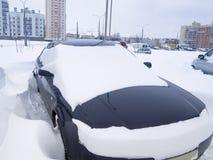 Snowfall parking Royalty Free Stock Image