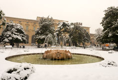Snowfall in Piazza Bra - Verona Italy Royalty Free Stock Images