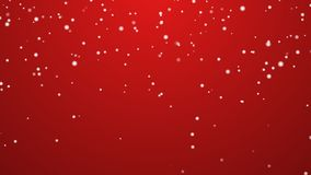 Snowfall red background stock footage