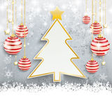 Snowfall Red Baubles Conrete Christmas Tree Royalty Free Stock Images