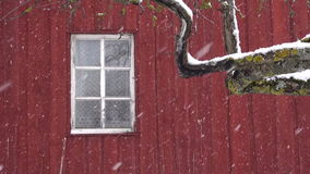 Snowfall on  red wooden farm house wall background with window stock video