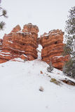 Snowfall Rock Fall. Snow falling under an unknown arch/natural bridge in southern Utah Royalty Free Stock Image