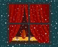 Snowfall and room Royalty Free Stock Image