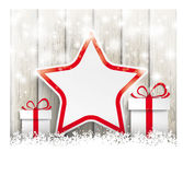 Snowfall Sale Gifts Stars Ash Wooden Background Stock Image