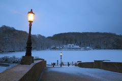 Snowfall in Seaton. In East Devon Stock Photo