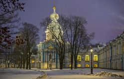 Snowfall and Smolny Convent with night illumination in St. Peter Royalty Free Stock Image