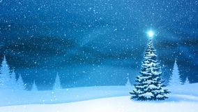 Snowfall and fir trees covered with hoarfrost and snow in evening forest in winter. Looped motion graphic. vector illustration