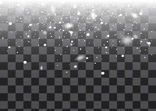 Snowfall, snowflakes in different shapes and forms. Snowflakes, snow background. Christmas snow for the new year