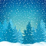 Snowfall in the Spruce Forest. Winter Holiday Background, Icy Snowstorm, Snowflaces and Snowdrift, Vector illustration Stock Image