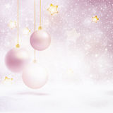 Snowfall and stars background with baubles Royalty Free Stock Image