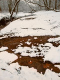 Snowfall Stream in Illinois. Snowfall along a small tributary of the Kishwaukee River in northern Illinois Royalty Free Stock Images