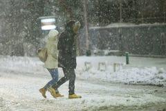 Snowfall on the streets of Velika Gorica, Croatia royalty free stock photo