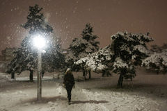 Snowfall on the streets of Velika Gorica, Croatia. VELIKA GORICA, CROATIA - JANUARY 13th, 2017 : A woman walking in the park covered with snow during strong Stock Image