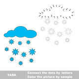 Snowfall to be traced. Vector letters game. Stock Photography