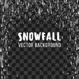 Snowfall on the transparent background. Vector abstract template Royalty Free Stock Image