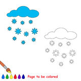 Snowfall in vector cartoon to be colored. Stock Photo