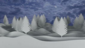 Snowfall video background with white trees and stock video