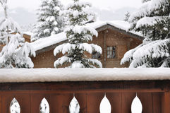 Snowfall in a village Royalty Free Stock Image