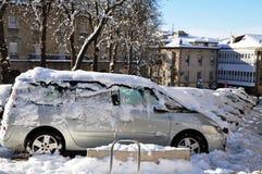 Snowfall in Vitoria Gasteiz, Spain Stock Image