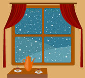 Snowfall and warm room Stock Photography